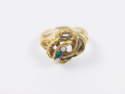 Antique Victorian 10k Gold Etruscan Revival Love Knot Ring Seed Pearls Size 6.75