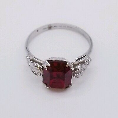 Beautiful antique 925 Solid sterling silver red rhinestone ring, s 8, Pat. No.