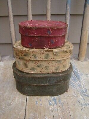 Primitive Christmas Fabric cloth Pantry Paper Mache Boxes, red off white green