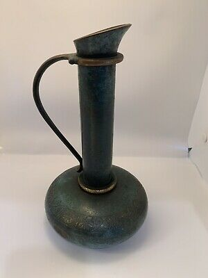 Antique Pitcher Metal Green Israel Grape Vine  Design