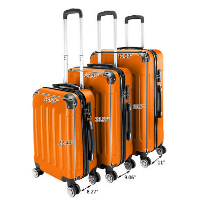 "20"" 24"" 28"" Orange Luggage Travel Set Bag ABS Trolley Suitcase Spinner Hardshell"