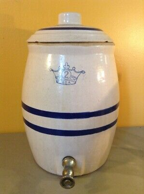 Vintage Old Water Jug Dispenser Spout Lid Blue Stripes w Crown Logo 2 Gallon
