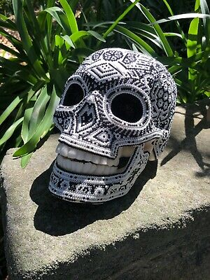 Mexican Huichol Beaded Skull Day Of The Dead