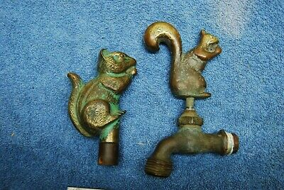 Old Vintage Bronze / Brass Squirrel eating Nut Garden Hose Finials Faucet