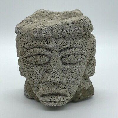 """pre columbian style pumice stone carved head bust, H: 6"""" x W 5"""" mayan aztec"""