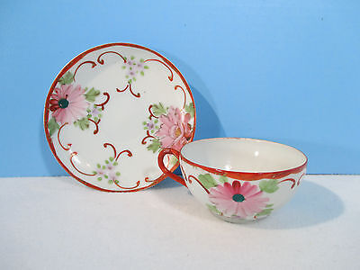 Japanese Eggshell Porcelain Cup Saucer Hand Painted Flowers Vtg