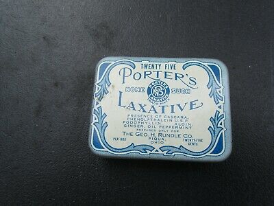 Antique Porters Laxative Metal Tin With Contents  Piqua Ohio Geo H Rundle
