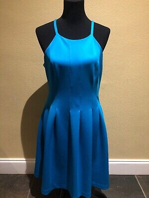 Calvin Klein Womens Size 12 Sleeveless Teal Blue Dress Lined with Pockets