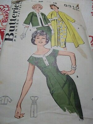 VTG Sewing Pattern Butterick 9310 Size 16 bust 36 dress coat and jacket