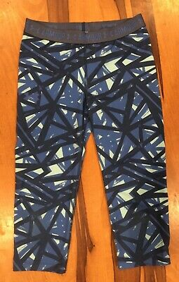 Under Armour Heat Gear girls blue geometric fitted capris leggings pants youth m