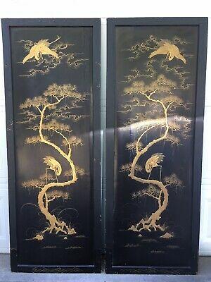 Beautiful Pair Antique Huge Chinese Lacquer Gilded Wood Panels Crane 1920-1960s