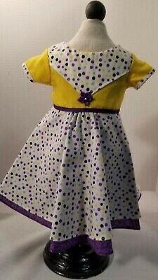 "Fits  American Girl Doll  18"" or any 18 "" doll Poke a dot purple yellow lined"