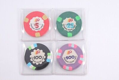 Set of 4 Premier Cruise Lines $5-$25-$100-$500 Casino Chips H&C Paulson Mold