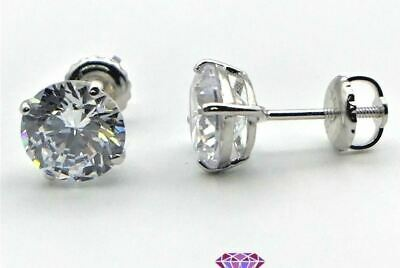 1 Ct Round Cut Stud Diamond Earrings Solid 14k White Gold Screw Back Studs 5mm