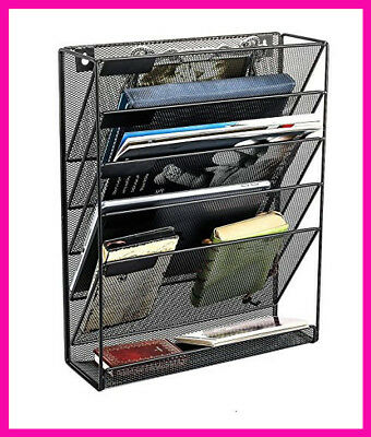 Hanging Wall File Organizer, 5 Slot Mesh Wall Mounted Document Office Holder