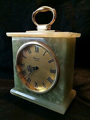 vintage 1960's Baronet of London green marble/onyx mechanical mantle clock