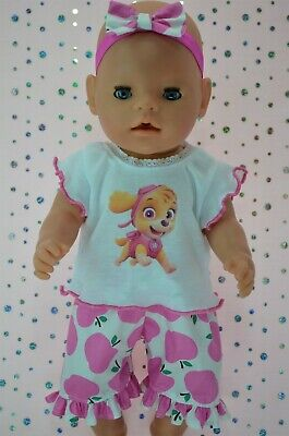 "Play n Wear Dolls Clothes To Fit 17"" Baby Born PINK APPLE PANTS~TOP~HEADBAND"