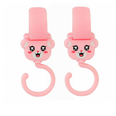 2x Pink Clip Hooks for Foundations Strollers Hang Shopping Diapers Bags Purse