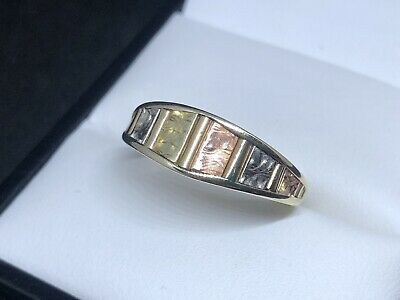 14ct Multi Colored Gold Tappered Band Ring