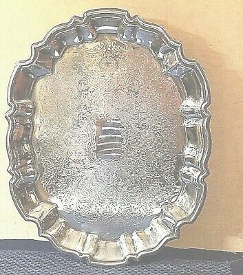 "Antique Marked LEONARD Silverplate Footed Oblong Serving Tray 14.5"" x 11"" x 2"""