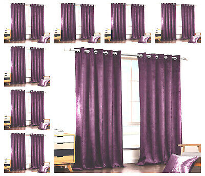 PURPLE Crushed Velvet Curtains PAIR of Eyelet Ring Top Fully Lined Ready Made