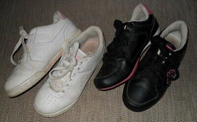 Two Pairs Of Ladies' Kappa Trainers White/Pink Size Uk4 & Black/Pink Size Uk5 Vg
