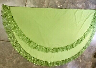 """Vtg Circular Round Solid Green Linen Tablecloth Lace Edging Trim. 65"""" Diameter"""
