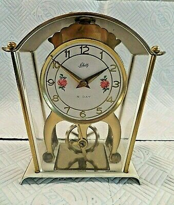 Vintage German Schatz 8 Day Wind Up Skeleton Carriage Clock - Full Working Order