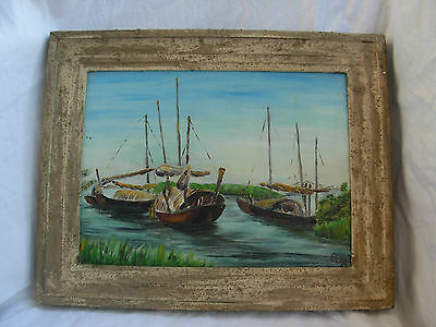 Vintage French Framed  Vietnamese Boat Scene Oil Painting,Signed,Dated