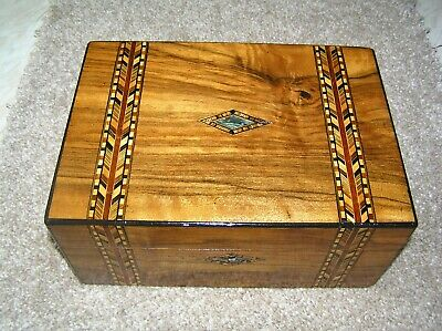 Antique Victorian Walnut Jewellery/Trinket Box With Tunbridge Bands & Abalone.