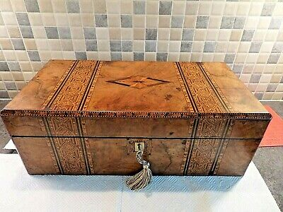 Victorian Inlaid Tunbridge Ware Burr Walnut Writing Slope+ 2 Ink Bottles & Key
