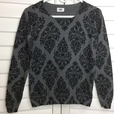 Old Navy Womens Sweater Dark Gray Black Damask Long Sleeves Crew Neck Pullover L