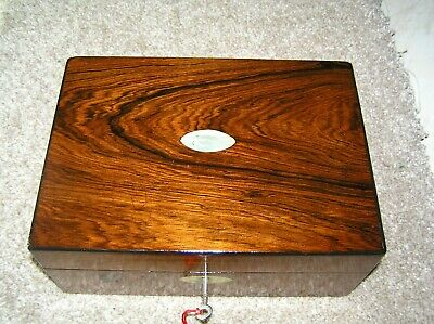 Antique Victorian Rosewood Jewellery/Trinket Box, Mop, Working Lock & Key.