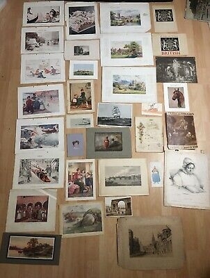 Large Collection Of Vintage Antique Prints