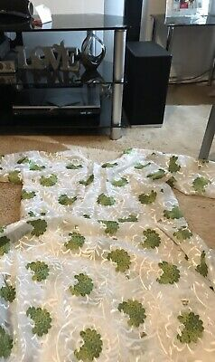 Africa Women Green /white Lace 3 Piece Set Buba, Wrapper And Headtie Size 12-14