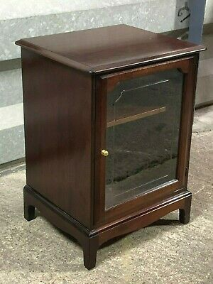 Vintage Stag Minstrel glazed mahogany lift top stereo music hi-fi cabinet stand