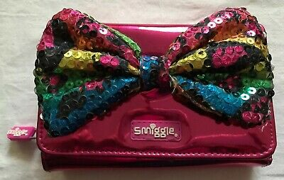 Smiggle Shiney Metallic Pink Purse With Multicoloured Sequin Bow Zip Stud Close
