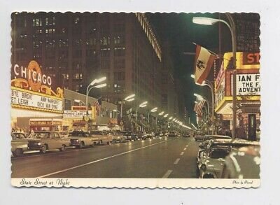 CHICAGO IL - 1964 - USA - State Street by Night - Vintage cars - Voitures