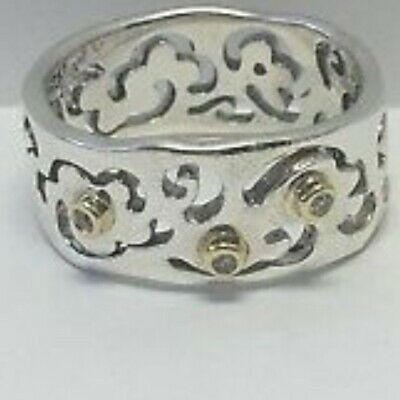 New box Pandora Sterling Silver & 14k Gold Diamond Cut Out Flower Ring size 4.5
