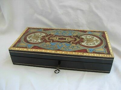 Antique French Inlaid Wood Brass Sewing Box,Napoleon Iii Period.