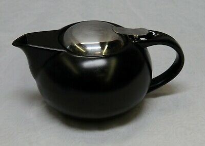 Teavana BROWN Fine Porcelain Metal Top Tea Infuser Teapot 24 oz -