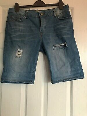Mens River Island Denim Shorts, Ripped Style Size 34 Waist, Great Condition