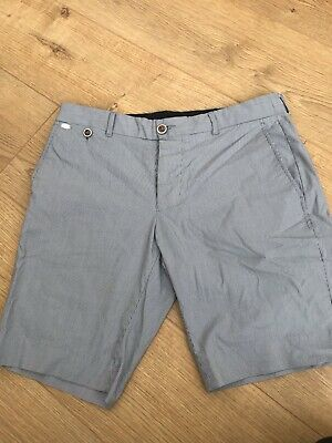 Mens River Island Shorts Size 32 Navy Blue And White