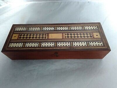 Antique Cribbage Board With Beautiful Inlay & Two Early Sets Of Playing Cards