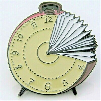Alarm Clock Face Book Pages Reading Time Librarian Enamel Round Pin Badge Gift