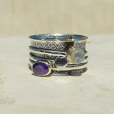 Amethyst Moonstone Ring 925 Sterling Silver Spinner Ring Meditation Jewelry A243