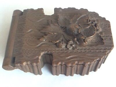 Beautifully Carved Antique Wooden Black Forest Folding Watch Case