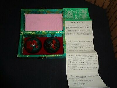 "Chinese ""BAODING"" CHIMING MEDITATION BALLS w/ ORIGINAL INSERT & BOX - Relaxation"