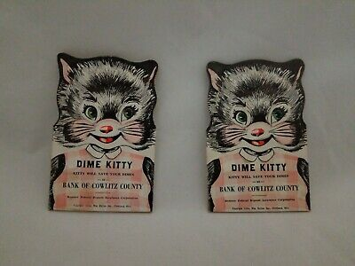 2 Vintage 1954 DIME KITTY Dime Savers Bank of Cowlitz County Cleveland OH