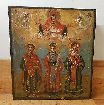 19th CENTURY RUSSIAN ICON DEPICTING THE THREE HOLY HIERARCHS